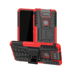Tire Texture TPU+PC Shockproof Protective Case with Holder for Asus Zenfone 6 ZS630KL(Red)
