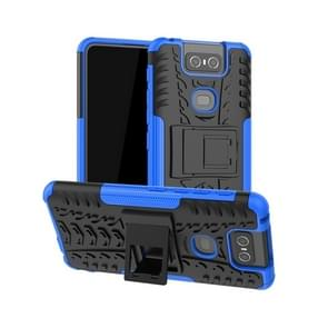 Tire Texture TPU+PC Shockproof Protective Case with Holder for Asus Zenfone 6 ZS630KL(Blue)