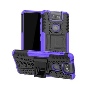 Tire Texture TPU+PC Shockproof Protective Case with Holder for Asus Zenfone 6 ZS630KL(Purple)