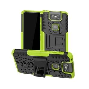 Tire Texture TPU+PC Shockproof Protective Case with Holder for Asus Zenfone 6 ZS630KL(Green)