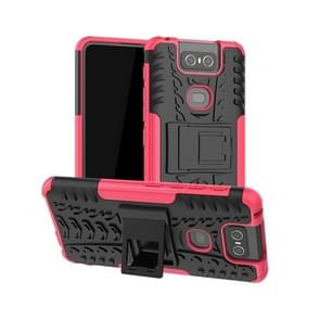 Tire Texture TPU+PC Shockproof Protective Case with Holder for Asus Zenfone 6 ZS630KL(Pink)