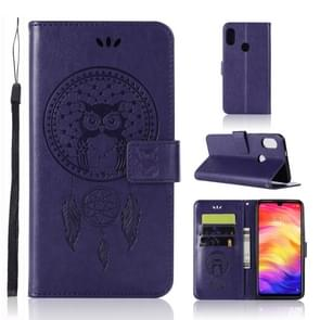 Wind Chime Owl Embossing Pattern Horizontal Flip Leather Case with Holder & Card Slots & Wallet For Xiaomi Redmi Note 7(Purple)