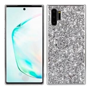 Plating glittery poeder schokbestendig TPU Case voor Galaxy Note 10 + (zilver)