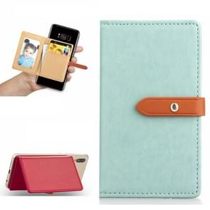 Mobile Phone Universal With Retro Thin Button Pure Color Leather Card Slot & Wallet & Holder & Photo Frame(Mint Green)