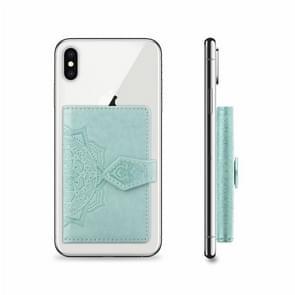 Mobile Phone Universal With Embossed Mandala Card Bag & Wallet & Holder & Photo Frame(Mint Green)