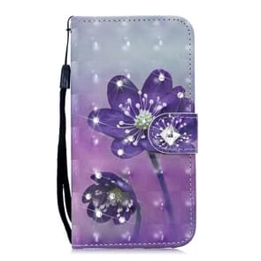 3D Diamond Encrusted Painting Pattern Coloured Drawing Horizontal Flip PU Leather Case with Holder & Card Slots & Wallet For Galaxy Note10(Purple Flower)