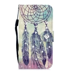 3D Diamond Encrusted Painting Pattern Coloured Drawing Horizontal Flip PU Leather Case with Holder & Card Slots & Wallet For Galaxy Note10+ / Note10 Pro(Feather Wind Chime)