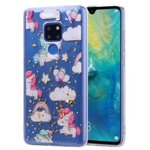 Cartoon Pattern Gold Foil Style Dropping Glue TPU Soft Protective Case for Huawei Mate 20(Pony)