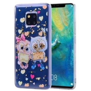 Cartoon patroon goud folie stijl dropping lijm TPU zachte beschermende case voor Huawei Mate20 Pro (liefhebbende uil)