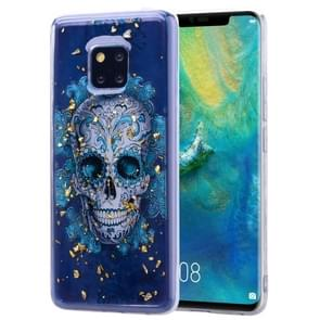 Cartoon Pattern Gold Foil Style Dropping Glue TPU Soft Protective Case for Huawei Mate20 Pro(Skull)