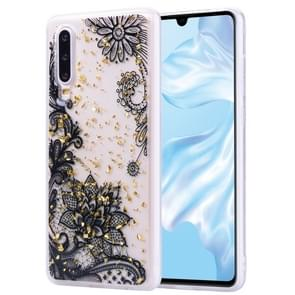 Cartoon Pattern Gold Foil Style Dropping Glue TPU Soft Protective Case for Huawei P30(Black Lace)
