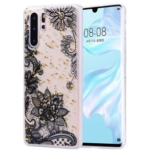 Cartoon Pattern Gold Foil Style Dropping Glue TPU Soft Protective Case for Huawei P30 Pro(Black Lace)