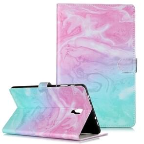 Colored Drawing Pattern Horizontal Flip PU Leather Case with Holder & Card Slots & Wallet For Galaxy Tab A 10.5 / T590(Pink Green  Marble )