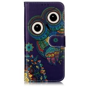 Olie reliëf gekleurde tekening patroon horizontale Flip PU lederen draagtas met houder & kaartsleuven & portemonnee & fotolijstjes voor OnePlus 7 (blauwe uil)