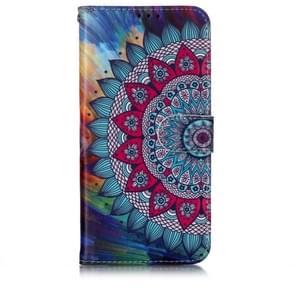 Olie reliëf gekleurde tekening patroon horizontale Flip PU lederen draagtas met houder & kaartsleuven & portemonnee & fotolijstjes voor OnePlus 7 (halve zonnebloem)