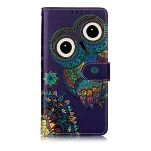 Oil Embossed Coloured Drawing Pattern Horizontal Flip PU Leather Case with Holder & Card Slots & Wallet & Photo Frame For Huawei P30 Lite(Blue Owl)