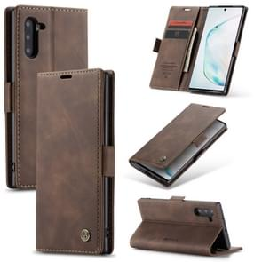 CaseMe-013 Multifunctional Horizontal Flip Leather Case with Card Slot & Holder for Galaxy Note 10(Coffee)