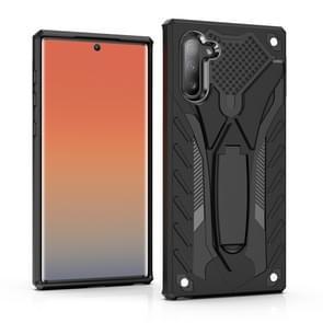 Schokbestendig TPU + PC beschermhoes met houder voor Galaxy Note 10 (zwart)