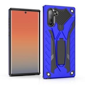 Schokbestendig TPU + PC beschermhoes met houder voor Galaxy Note 10 (blauw)