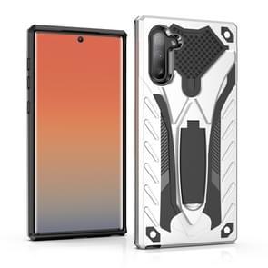 Schokbestendig TPU + PC beschermhoes met houder voor Galaxy Note 10 (zilver)