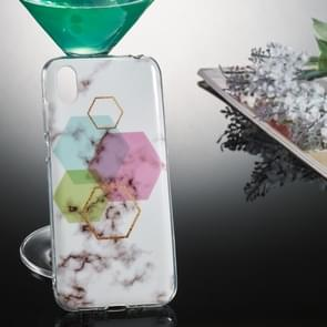 Coloured Drawing Pattern IMD Workmanship Soft TPU Protective Case For Huawei Y5 2019(Hexagonal Marble)