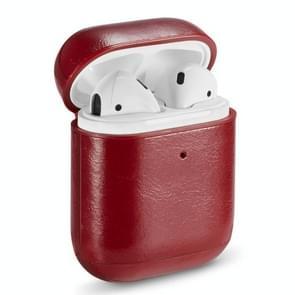 Echt leer gek paard textuur oortelefoon beschermende case voor Apple AirPods (rood)