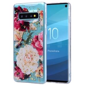 Cartoon Pattern Gold Foil Style Dropping Glue TPU Soft Protective Case for Galaxy S10+(Flower)