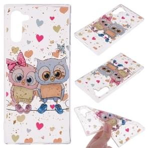 Cartoon Pattern Gold Foil Style Dropping Glue TPU Soft Protective Case for Galaxy Note 10(Loving Owl)