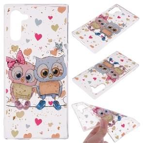 Cartoon patroon goud folie stijl dropping lijm TPU zachte beschermende case voor Galaxy Note 10 (Loving Owl)