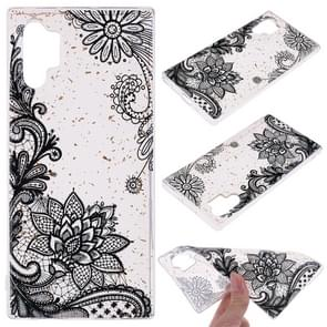 Cartoon Pattern Gold Foil Style Dropping Glue TPU Soft Protective Case for Galaxy Note 10 Pro(Black Lace)