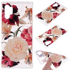 Cartoon Pattern Gold Foil Style Dropping Glue TPU Soft Protective Case for Galaxy Note 10 Pro(Flower)