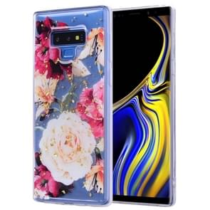 Cartoon Pattern Gold Foil Style Dropping Glue TPU Soft Protective Case for Galaxy Note9(Flower)