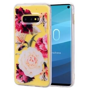 Cartoon Pattern Gold Foil Style Dropping Glue TPU Soft Protective Case for Galaxy S10 Lite(Flower)