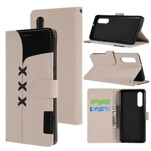 Fabric Stitching Embroidery Horizontal Flip Leather Case With Holder & Card Slots & Wallet for Huawei P30(White)