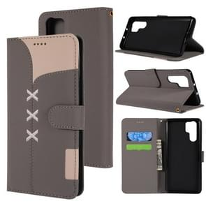 Fabric Stitching Embroidery Horizontal Flip Leather Case With Holder & Card Slots & Wallet for Huawei P30 Pro(Grey)