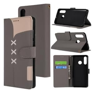 Fabric Stitching Embroidery Horizontal Flip Leather Case With Holder & Card Slots & Wallet for Huawei P30 Lite(Grey)
