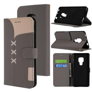 Fabric Stitching Embroidery Horizontal Flip Leather Case With Holder & Card Slots & Wallet for Huawei Mate 20(Grey)