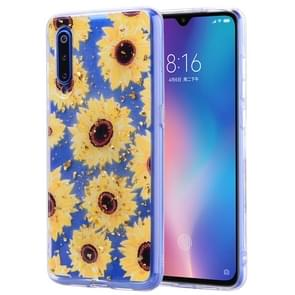 Cartoon Pattern Gold Foil Style Dropping Glue TPU Soft Protective Case for Xiaomi Mi 9(Flower)