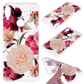 Cartoon Pattern Gold Foil Style Dropping Glue TPU Soft Protective Case for Xiaomi Redmi Note 7(Flower)