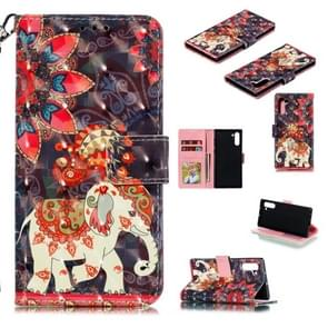 3D Painted Pattern Horizontal Flip Leather Case with Holder & Card Slot & Wallet & Photo Frame & Lanyard For Galaxy Note 10(Phoenix Elephant)