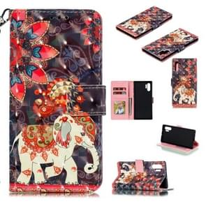 3D Painted Pattern Horizontal Flip Leather Case with Holder & Card Slot & Wallet & Photo Frame & Lanyard For Galaxy Note 10+(Phoenix Elephant)