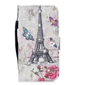 3D Diamond Encrusted Painting Pattern Coloured Drawing Horizontal Flip PU Leather Case with Holder & Card Slots & Wallet For Huawei P20 Pro(Eiffel Tower)