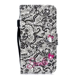 3D Diamond Encrusted Painting Pattern Coloured Drawing Horizontal Flip PU Leather Case with Holder & Card Slots & Wallet For Huawei P30(Lace Flower)