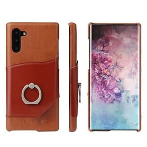 Fierre Shann Oil Wax Texture Genuine Leather Back Cover Case with 360 Degree Rotation Holder & Card Slot for Galaxy Note 10(Brown)