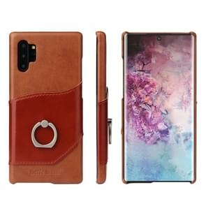 Fierre Shann Oil Wax Texture Genuine Leather Back Cover Case with 360 Degree Rotation Holder & Card Slot for Galaxy Note 10+(Brown)