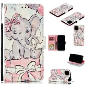 3D Painted Pattern Horizontal Flip Leather Case with Holder & Card Slot & Wallet & Photo Frame & Lanyard For iPhone XI 2019(Butterfly Elephant)