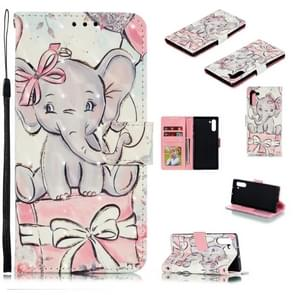 3D Painted Pattern Horizontal Flip Leather Case with Holder & Card Slot & Wallet & Photo Frame & Lanyard For Galaxy Note 10(Butterfly Elephant)