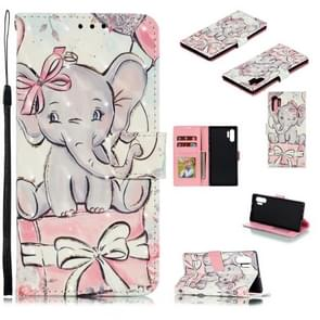 3D Painted Pattern Horizontal Flip Leather Case with Holder & Card Slot & Wallet & Photo Frame & Lanyard For Galaxy Note 10+(Butterfly Elephant)