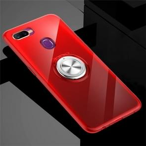 Ultra-thin TPU Protective Case with 360 Degree Rotation Holder for OPPO A7x / F9 (F9 Pro)(Red)