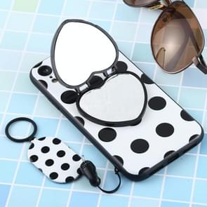 Love Mirror MobilePhone Protection Back Cover Case with Ring Hanging Rope & Holder for iPhone XR(Black Polka Dots)